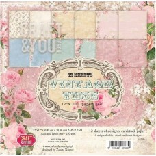 Craft and You Vintage Time 12X12 PAPER PADS