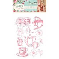 Sara Signature Collection - Vintage Tea Party - Clear Stamp Set - Tea For Two
