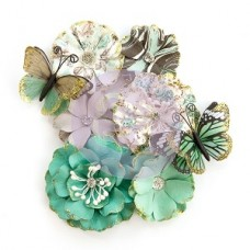 "Prima Zella Teal- Flowers ""Butterfly Kisses"""