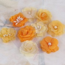 Prima Lady Godivas Orange Ice Fabric flowers - 9pc per pkg