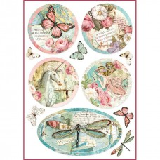 Stamperia A4 Rice Paper -  WONDERLAND FANTASY DECORATIONS