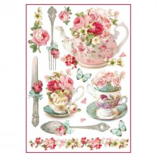 Stamperia A4 Rice Paper -   FLORAL MUGS AND TEAPOTS