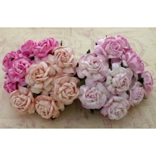 20 MIXED PINK MULBERRY PAPER TEA ROSES 40mm