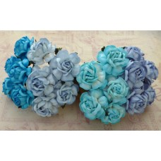 20 MIXED BLUE TONE MULBERRY PAPER TEA ROSES 40mm