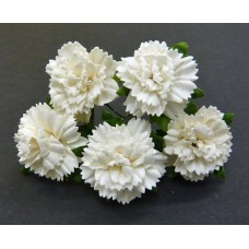WOC - 20 OFF-WHITE MULBERRY PAPER CARNATION FLOWERS