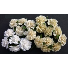 WOC - 20 MIXED WHITE/CREAM MULBERRY PAPER CARNATION FLOWERS