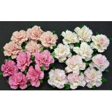 WOC - 20 MIXED PINK MULBERRY PAPER CARNATION FLOWERS