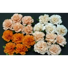 WOC - 20 MIXED PEACH/ORANGE MULBERRY PAPER CARNATION FLOWERS