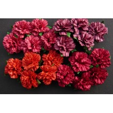 WOC - 20 MIXED RED MULBERRY PAPER CARNATION FLOWERS