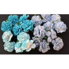 WOC - 20 MIXED BLUE MULBERRY PAPER CARNATION FLOWERS