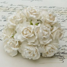 WOC - 40mm LARGE IVORY WILD ROSES  - 25pc