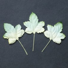 WOC - 50pc - 2-tone green/white Mulberry Paper Maple Leaves - 45mm