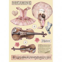 Stamperia Colored Wooden shape A5 - Passion violin and dance