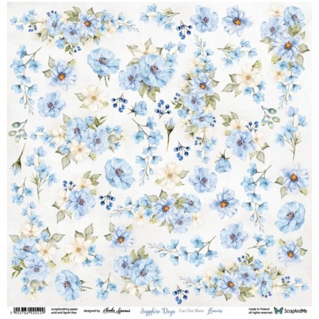 Scrapandme Sapphire Days Flowers - Cutting Sheet