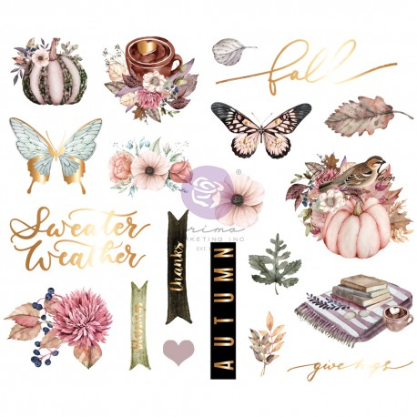 HELLO PINK AUTUMN COLLECTION CHIPBOARD STICKERS – 20 PCS W/ FOIL DETAIL