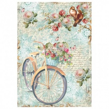 Stamperia A4 Rice Paper -  BIKE AND BRANCH WITH FLOWES