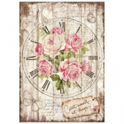 Stamperia A4 Rice Paper -SWEET TIME CLOCK BOUQUET