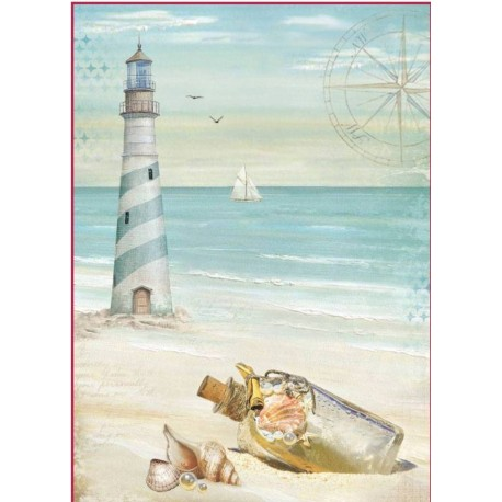 Stamperia A4 Rice Paper -  SEA LAND LIGHTHOUSE
