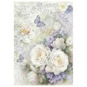 Stamperia A4 Rice Paper - WHITE ROSES AND LILAC BUTTERFLIES