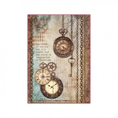Stamperia A4 Rice Paper -  CLOCKWISE CLOCK AND KEYS