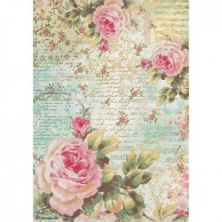 Stamperia A4 Rice Paper -ROSE AND WRITINGS