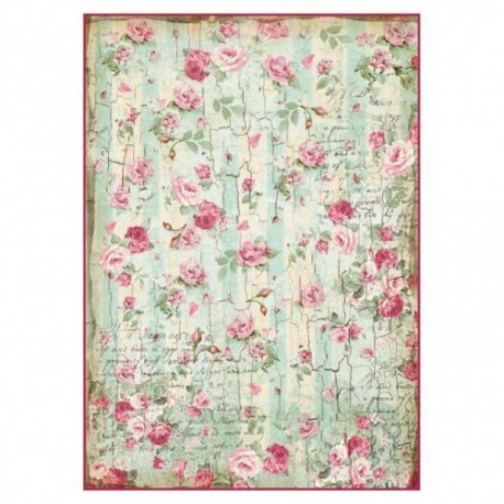 Stamperia A4 Rice Paper - Floral Profile Roses