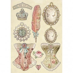 STAMPERIA COLORED WOODEN SHAPE A5 PRINCESS'S JEWELLERY